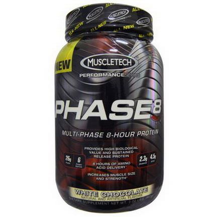 Muscletech, Phase 8, Multi-Phase 8-Hour Protein, White Chocolate 907g