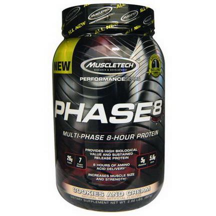 Muscletech, Phase8, Multi-Phase 8-Hour Protein, Cookies and Cream 907g