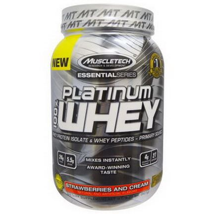 Muscletech, Platinum 100% Whey, Strawberries and Cream 907g