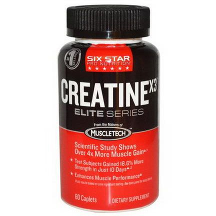 Muscletech, Six Star Pro Nutrition, Creatine X3, Elite Series, 60 Caplets