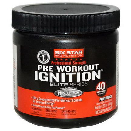 Muscletech, Six Star Pro Nutrition, Pre-Workout Ignition, Elite Series, Fruit Punch 240g