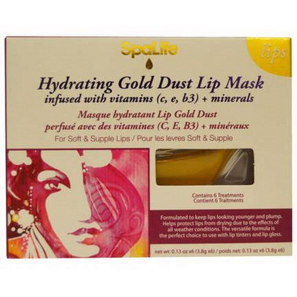 My Spa Life, Hydrating Gold Dust Lip Mask, Vitamins C, E, B3 Minerals, 6 Treatments