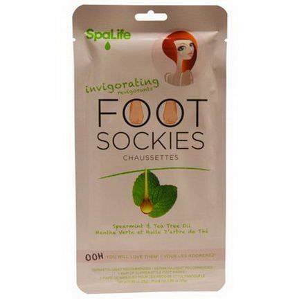 My Spa Life, Invigorating Foot Sockies, Spearmint&Tea Tree Oil, 1 Pair Foot Masks 25g
