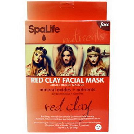 My Spa Life, Red Clay Facial Mask, Face, 3 Facial Masks 69g