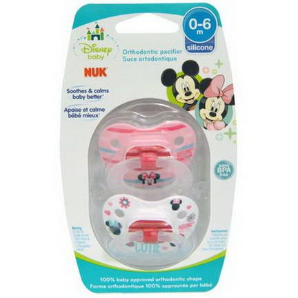 NUK, Disney Baby, Minnie Mouse Orthodontic Pacifier, 0-6 Months, 2 Pacifiers