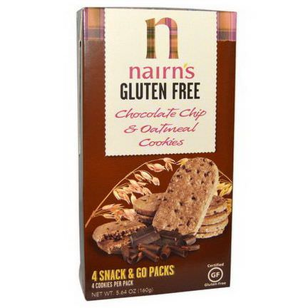 Nairn's Inc, Gluten Free, Chocolate Chip&Oatmeal Cookies 160g
