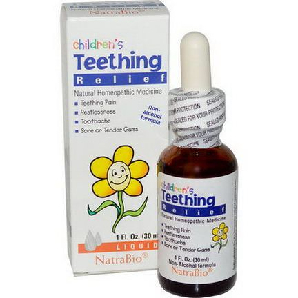 NatraBio, Children's Teething Relief, Non-Alcohol Formula, Liquid 30ml