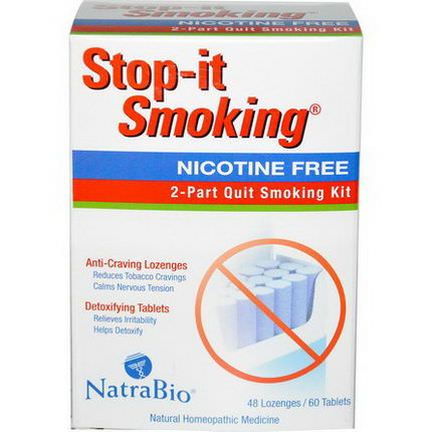 NatraBio, Stop-it Smoking, 2-Part Quit Smoking Kit, Nicotine Free, 48 Lozenges / 60 Tablets