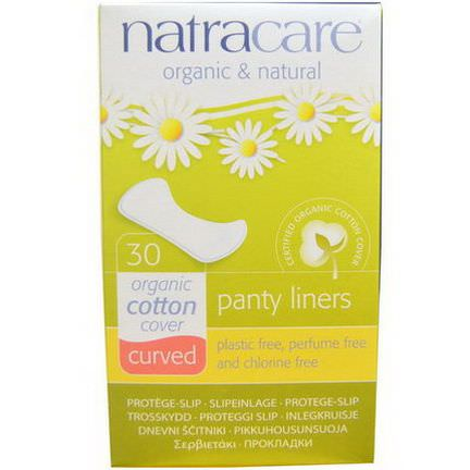 Natracare, Organic&Natural Panty Liners, Curved, 30 Liners