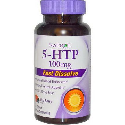 Natrol, 5-HTP, Wild Berry Flavor, 100mg, 30 Tablets