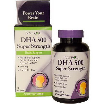Natrol, DHA 500, Super Strength, Brain Support, 500mg, 30 Softgels