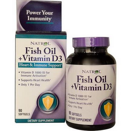Natrol, Fish Oil Vitamin D3, Heart&Immune Support, 90 Softgels