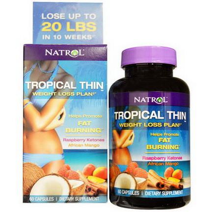 Natrol, Tropical Thin, Weight Loss Plan, Raspberry Ketones, African Mango, 60 Capsules