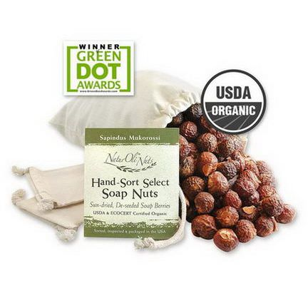 NaturOli, Organic, Hand-Sort Select Soap Nuts With 1 Muslin Drawstring Bags, 16 oz