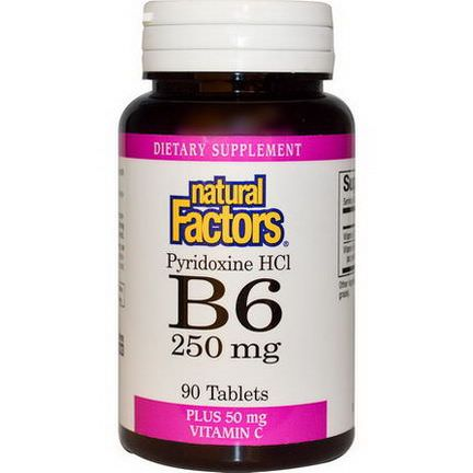 Natural Factors, B6, Pyridoxine HCl, Plus Vitamin C, 250mg, 90 Tablets