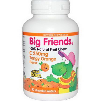 Natural Factors, Big Friends, C, Tangy Orange Flavor, 250mg, 90 Chewable Wafers