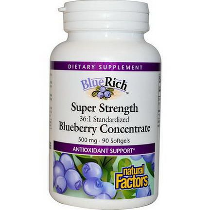 Natural Factors, BlueRich, Super Strength, Blueberry Concentrate, 500mg, 90 Softgels