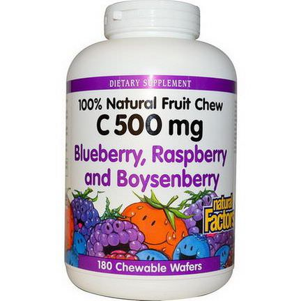 Natural Factors, C 500mg, Blueberry, Raspberry and Boysenberry, 180 Chewable Wafers