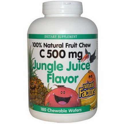 Natural Factors, C 500mg, Jungle Juice Flavor, 180 Chewable Wafers
