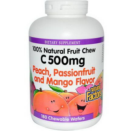 Natural Factors, C 500mg, Peach, Passionfruit and Mango Flavor, 180 Chewable Wafers