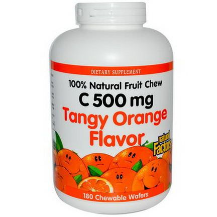Natural Factors, C 500mg, Tangy Orange Flavor, 180 Chewable Wafers