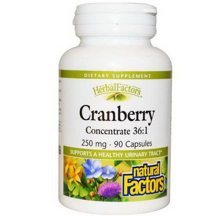 Natural Factors, Cranberry Concentrate 36:1, 250mg, 90 Capsules