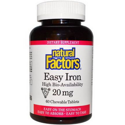 Natural Factors, Easy Iron, 20mg, 60 Chewable Tablets