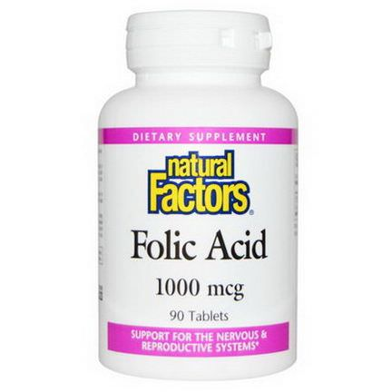 Natural Factors, Folic Acid, 1,000mcg, 90 Tablets