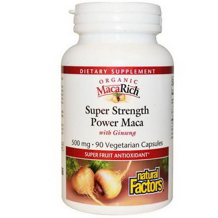 Natural Factors, Organic MacaRich, Super Strength Power Maca, with Ginseng, 500mg, 90 Veggie Caps