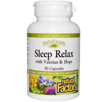 Natural Factors, Sleep Relax, with Valerian&Hops, 90 Capsules