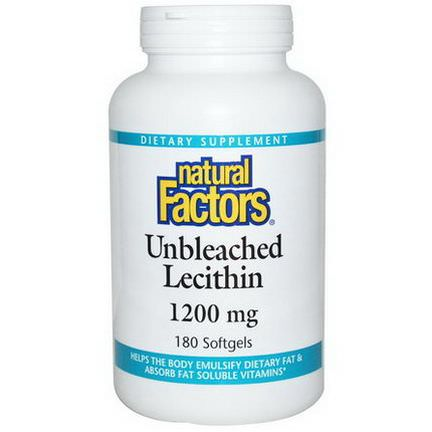 Natural Factors, Unbleached Lecithin, 1200mg, 180 Softgels