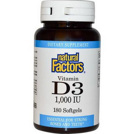 Natural Factors, Vitamin D3, 1000 IU, 180 Softgels