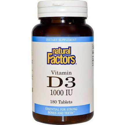 Natural Factors, Vitamin D3, 1000 IU, 180 Tablets