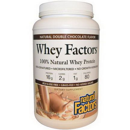 Natural Factors, Whey Factors, 100% Natural Whey Protein, Natural Double Chocolate Flavor 907g