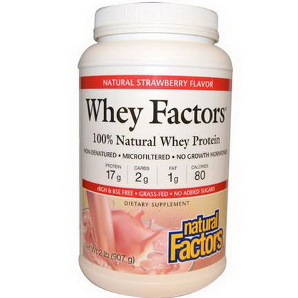 Natural Factors, Whey Factors, 100% Natural Whey Protein, Natural Strawberry Flavor 907g