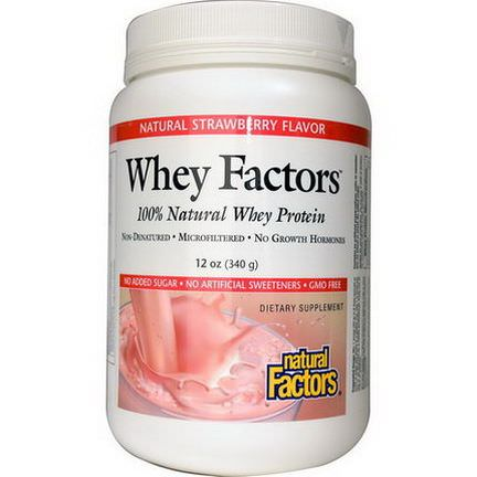 Natural Factors, Whey Factors, 100% Natural Whey Proteins, Natural Strawberry Flavor 340g