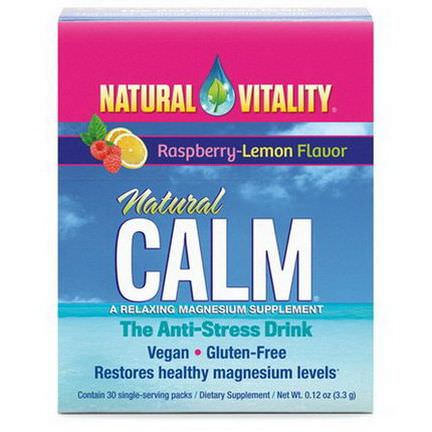 Natural Vitality, Natural Calm, A Relaxing Magnesium Supplement, Raspberry-Lemon Flavor, 30 Single Serving Packs 3.3g