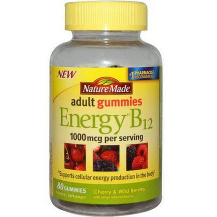 Nature Made, Adult Gummies, Energy B12, Cherry&Wild Berries, 80 Gummies