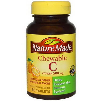 Nature Made, Chewable Vitamin C, 500mg, 60 Tablets