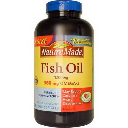 Nature Made, Fish Oil, 1200mg, 300 Liquid Softgels