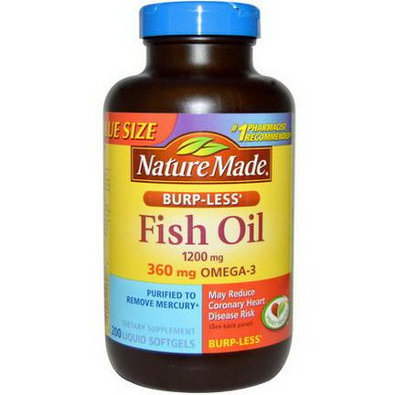 Nature Made, Fish Oil, Burp-Less, 1200mg, 200 Liquid Softgels