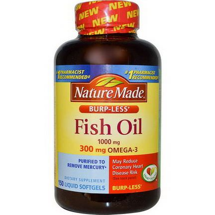 Nature Made, Fish Oil, Omega-3, 1000mg, 150 Liquid Softgels