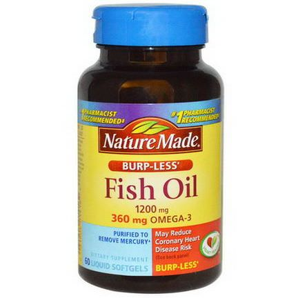 Nature Made, Fish Oil, Omega-3, Burp-Less, 1200mg, 60 Liquid Softgels