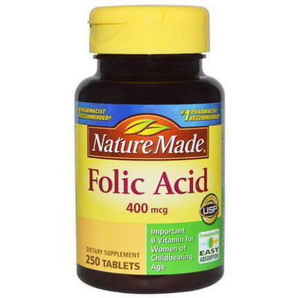 Nature Made, Folic Acid, 400mcg, 250 Tablets