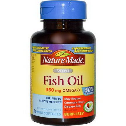 Nature Made, Mini Fish Oil, Omega-3, 360mg, 60 Mini Softgels