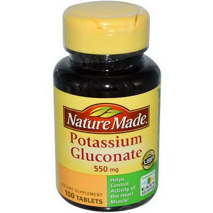 Nature Made, Potassium Gluconate, 550mg, 100 Tablets