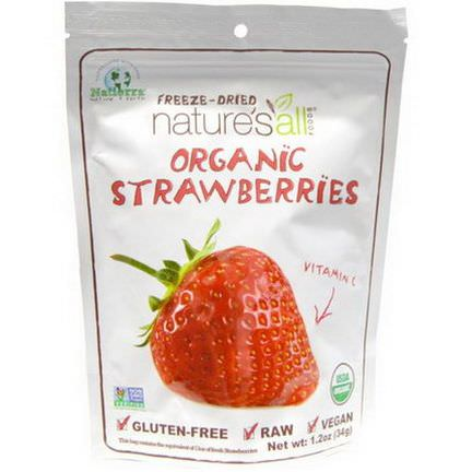Nature's All, Organic Strawberries, Freeze-Dried 34g
