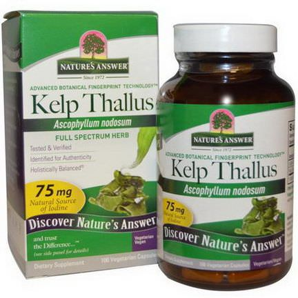 Nature's Answer, Kelp Thallus, 75mg, 100 Veggie Caps