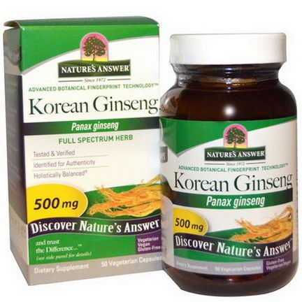 Nature's Answer, Korean Ginseng, 500mg, 50 Veggie Caps