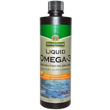 Nature's Answer, Liquid Omega-3, Deep Sea Fish Oil EPA/DHA, Natural Orange Flavor 480ml